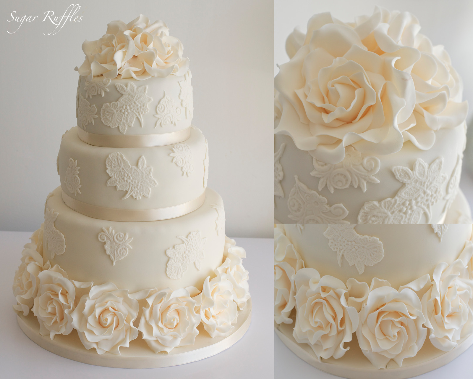 Wedding Cakes Rose  Wedding Cakes with lace and roses