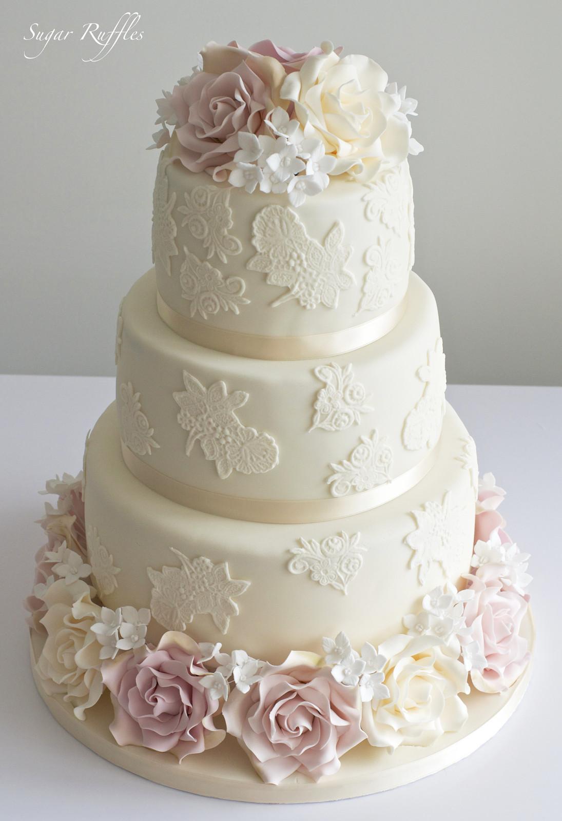 Wedding Cakes Rose  Amnesia Roses & Lace Wedding Cake Korinne and Tom