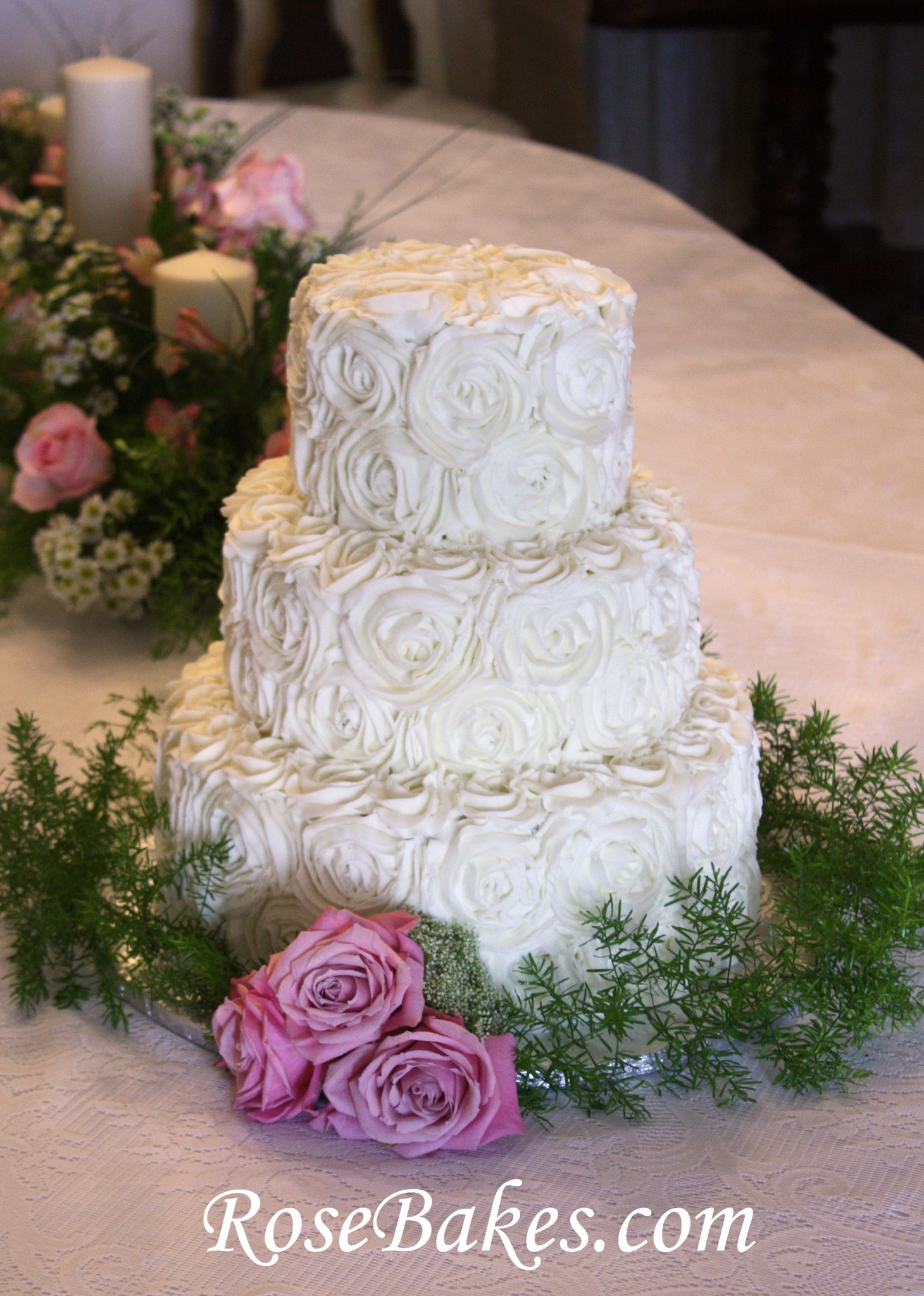 Wedding Cakes Rose  Buttercream Roses Wedding Cake with Pink Roses