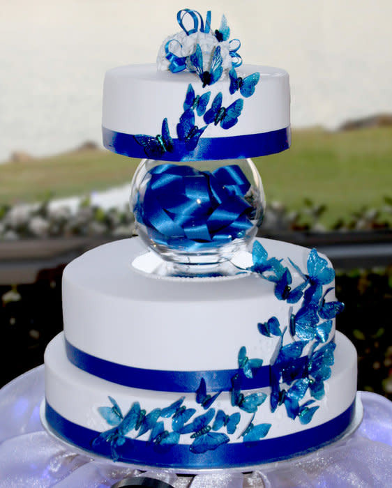 Wedding Cakes Royal Blue  Blue butterflies wedding cake Cake by ozgirl39 CakesDecor