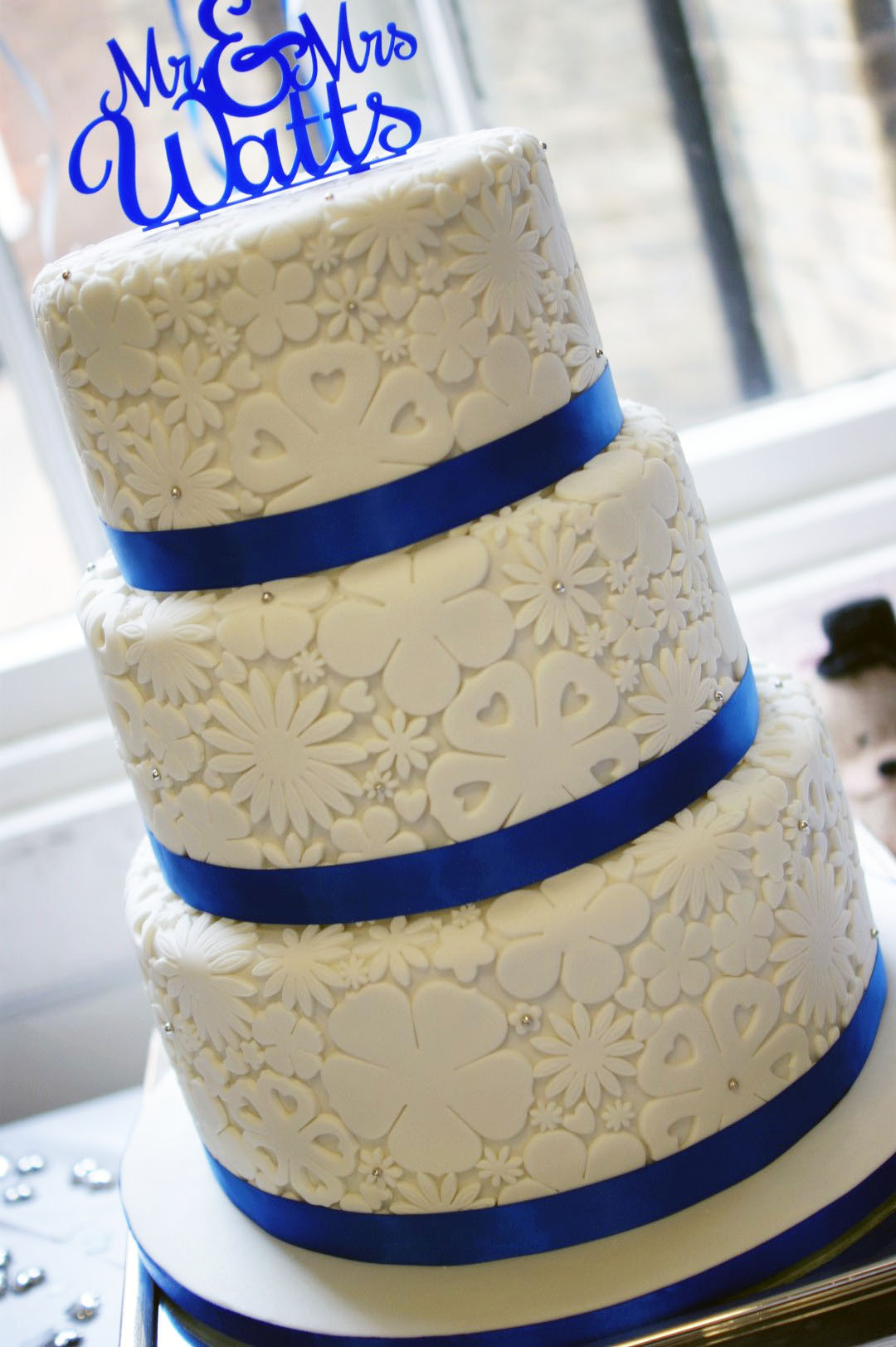 Wedding Cakes Royal Blue  Royal Blue Flower Stamp 3 Tier Wedding Cake Bakealous