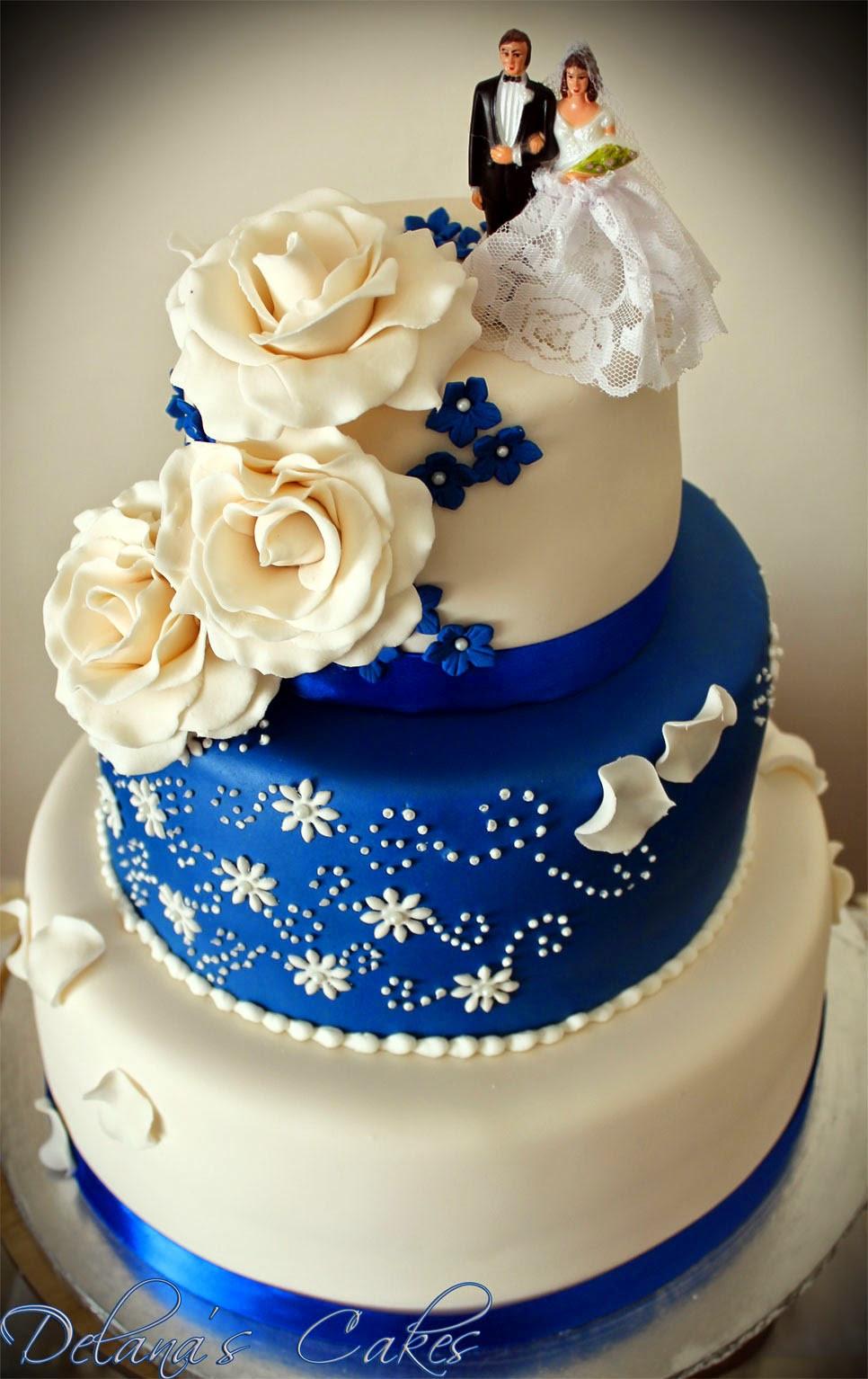 Wedding Cakes Royal Blue  Delana s Cakes Royal Blue and White Wedding Cake