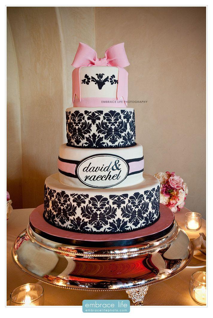 Wedding Cakes Sacramento Ca  Fun Victorian patterned wedding cake with large fondant
