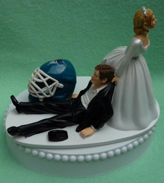 Wedding Cakes San Jose  Wedding Cake Topper San Jose Sharks SJ Hockey Themed w Bridal