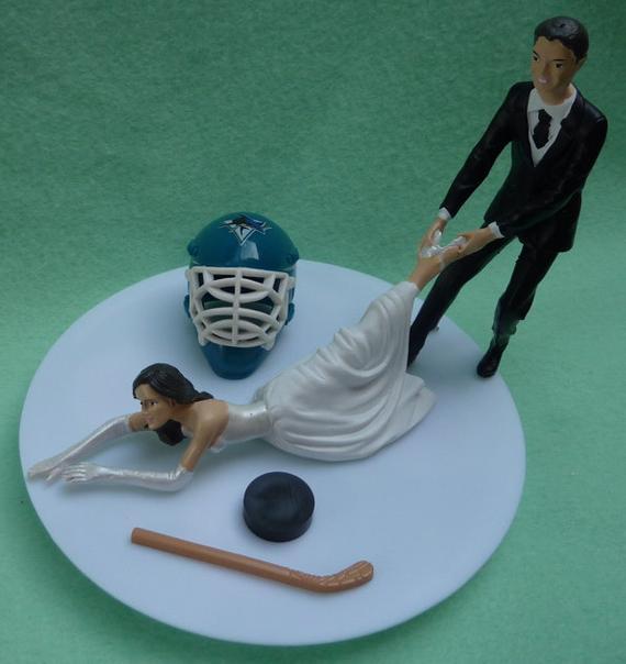 Wedding Cakes San Jose  Wedding Cake Topper San Jose Sharks SJ G Hockey Themed w