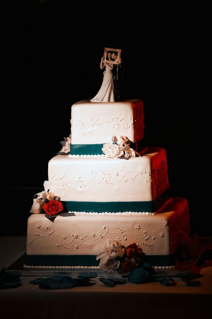 Wedding Cakes San Jose  San Jose Sharks colors wedding cake Teal Orange White