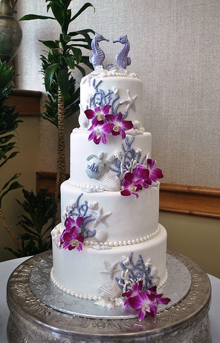 Wedding Cakes Sarasota  Purple&white Beach Theme wedding cake Lido Beach resort Sa