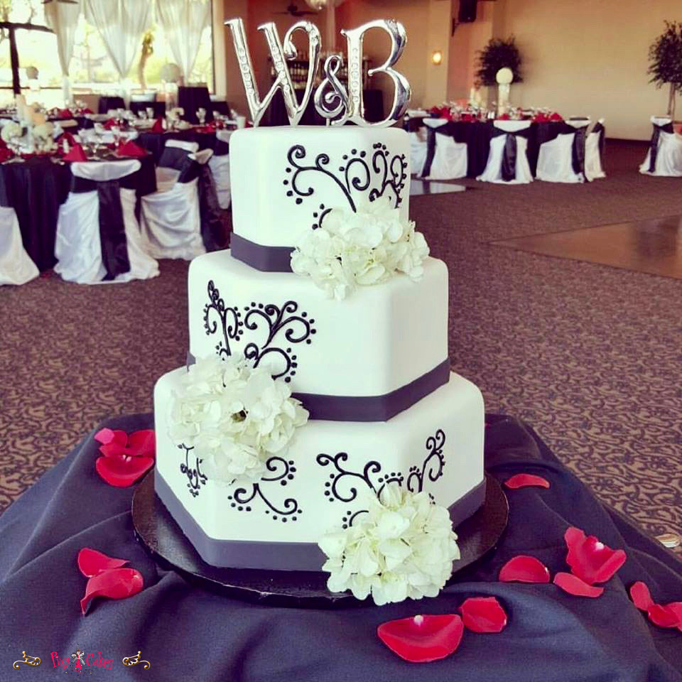 Wedding Cakes Scottsdale  wedding cake pixy cakes hexagon elegant flowers topper