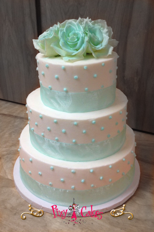 Wedding Cakes Scottsdale  wedding cake blue flowers ribbon elegant traditional pixy