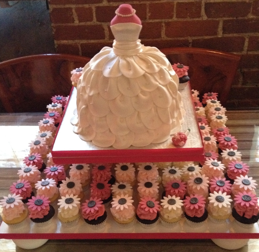 Wedding Cakes Show  Bridal Shower Wedding Dress Cake With Cupcakes