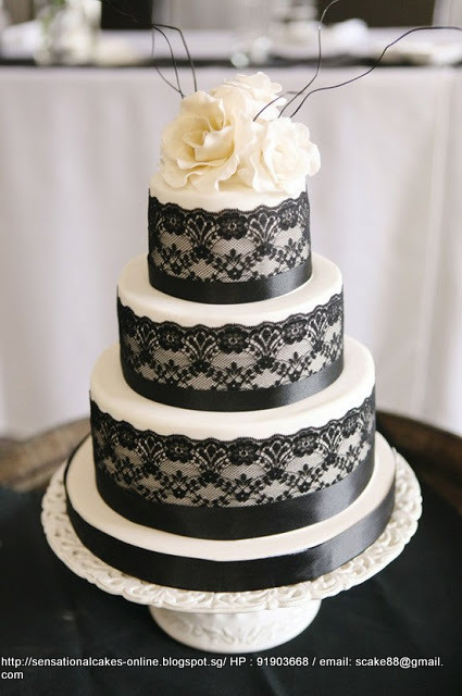 Wedding Cakes Singapore  BLACK AND WHITE VEIL LACE WEDDING CAKE SINGAPORE 3 TIER