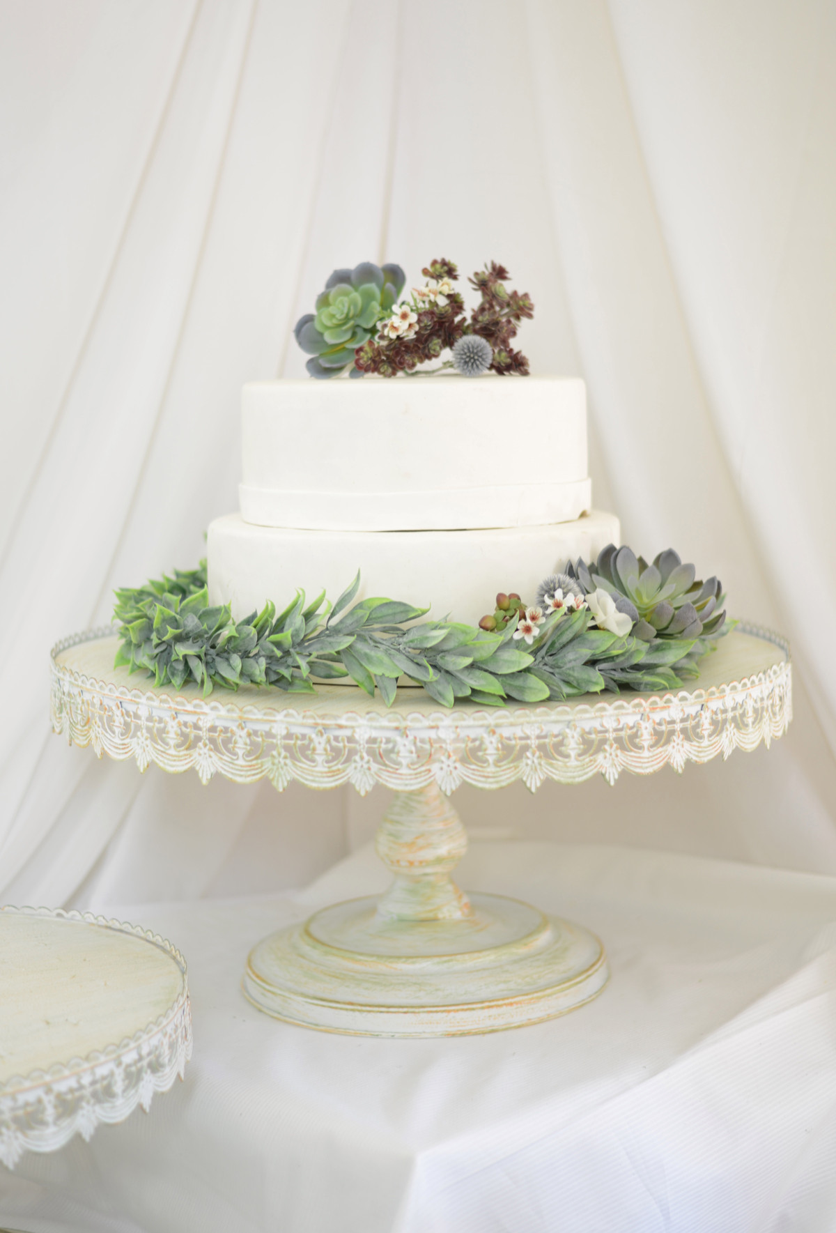 Wedding Cakes Stands  Vintage Metal Cake Stand White 22in
