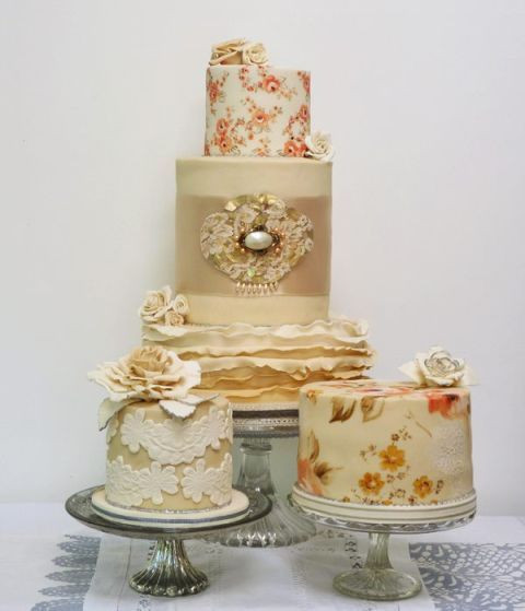 Wedding Cakes Style  Hand painted wedding cakes by Nevie Pie Cakes