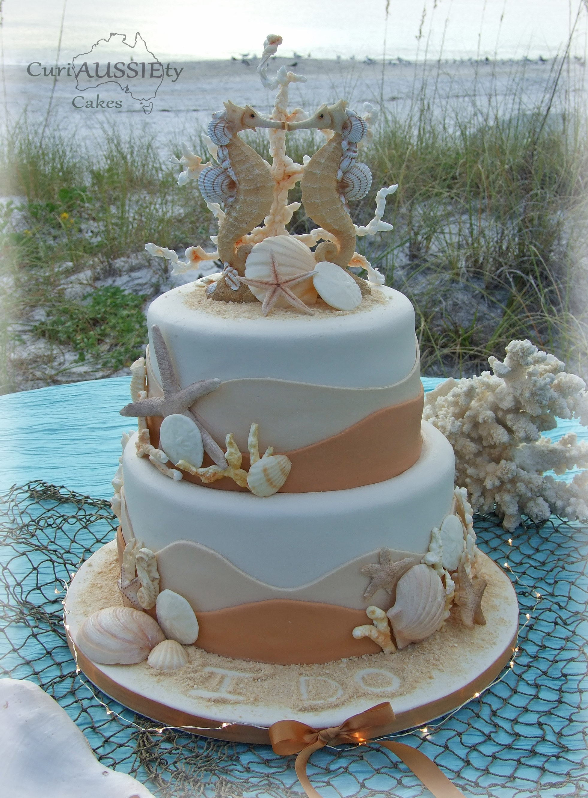 Wedding Cakes Theme  sea Horse Beach Theme Wedding Cake CakeCentral