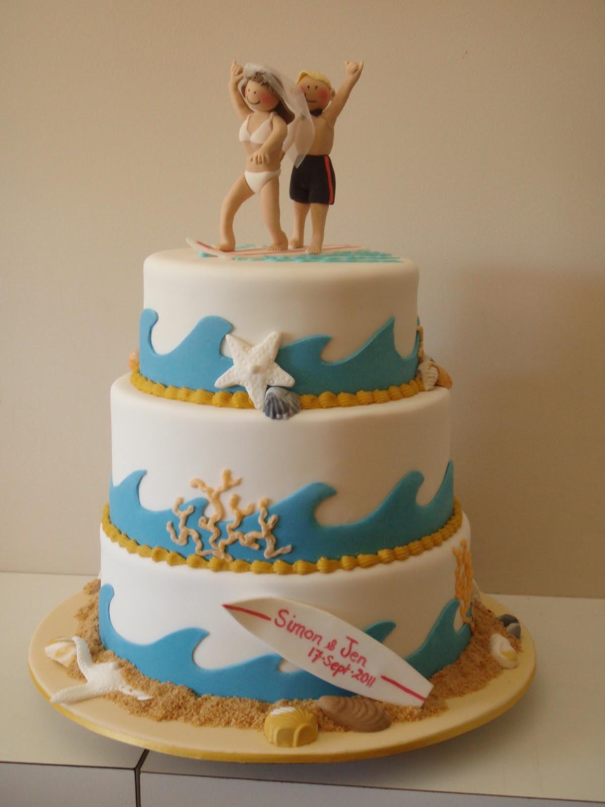 Wedding Cakes Theme  The Little Oak Tree Surfing Couple Wedding Cake Beach Theme