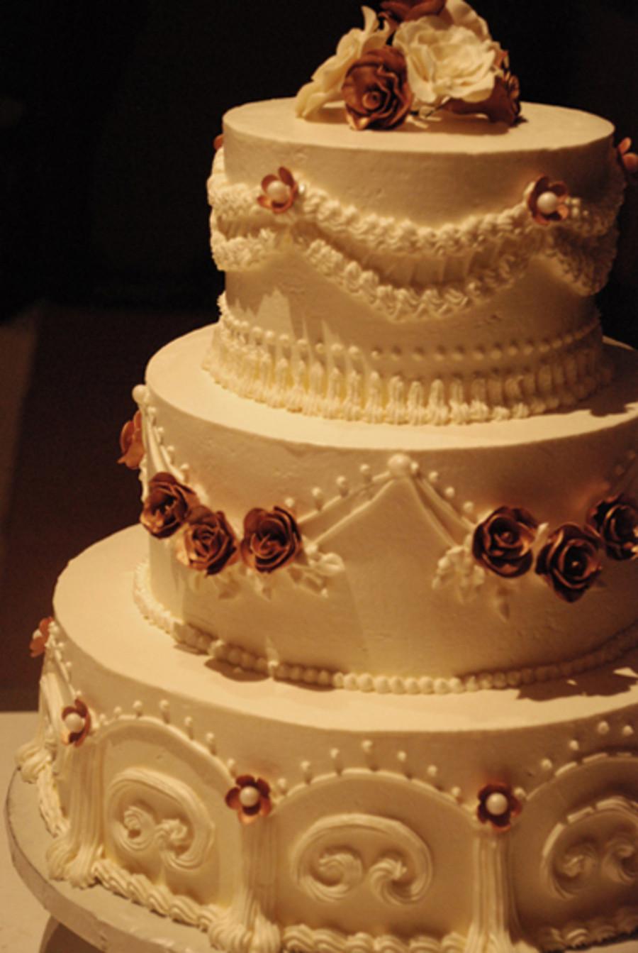 Wedding Cakes Three Tier  3 Tier Italian Buttercream Wedding Cake CakeCentral
