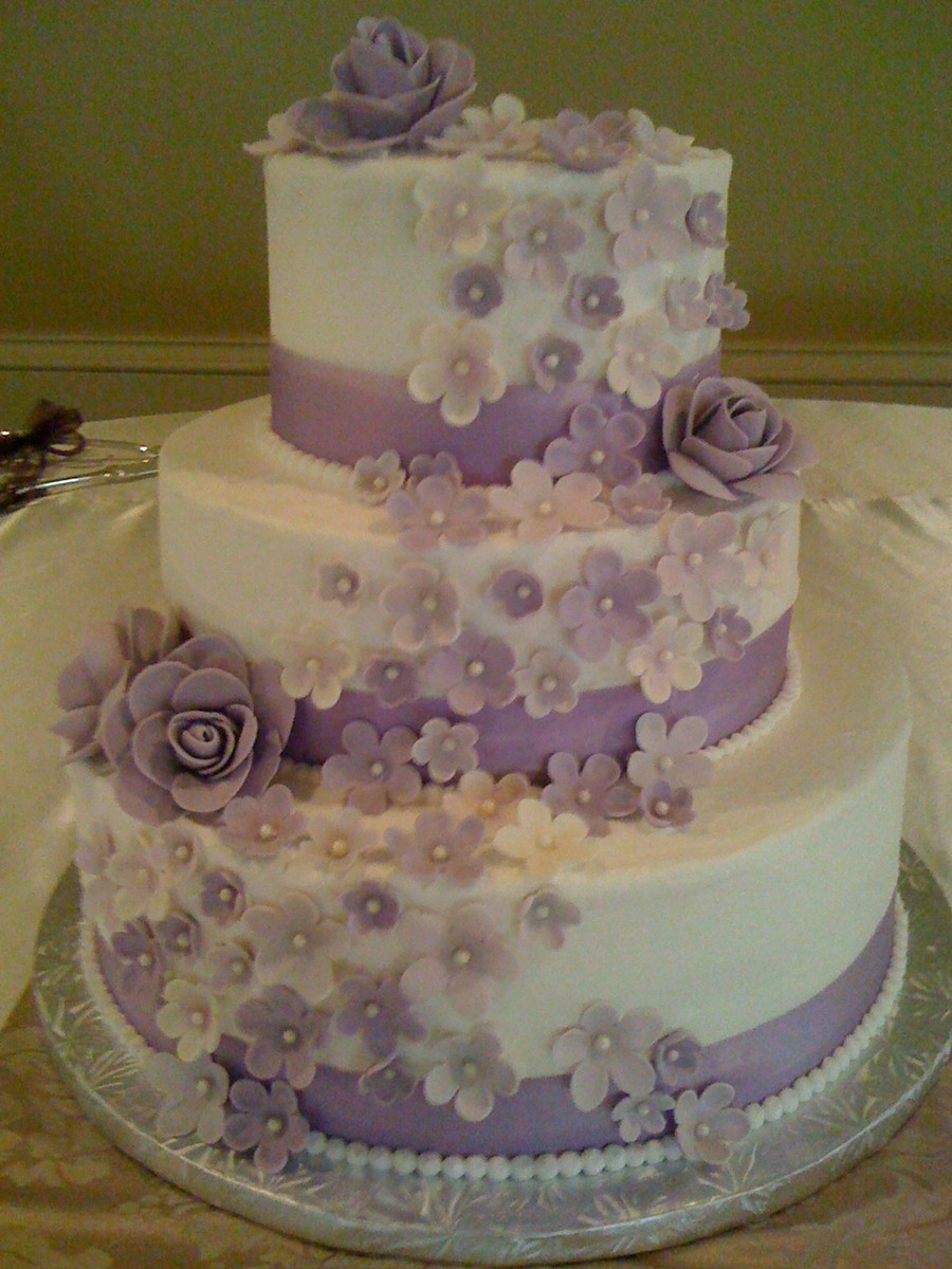 Wedding Cakes Three Tier  Purple 3 Tier Wedding Cake CakeCentral