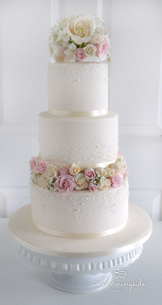Wedding Cakes Three Tier  3 tier wedding cake with edible lace sugar rose bouquet