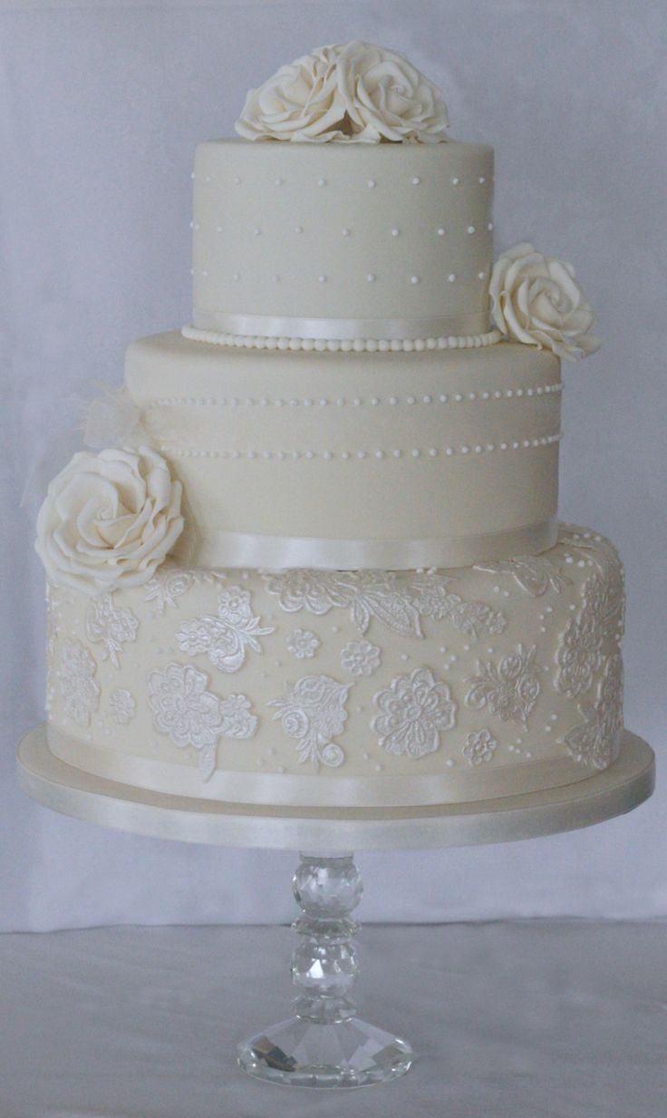 Wedding Cakes Three Tier  25 best ideas about Ivory wedding cake on Pinterest