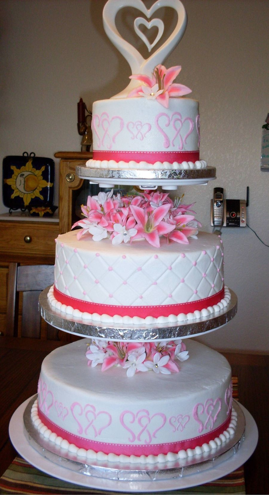 Wedding Cakes Three Tiers  Pink And White 3 Tier Wedding Cake CakeCentral