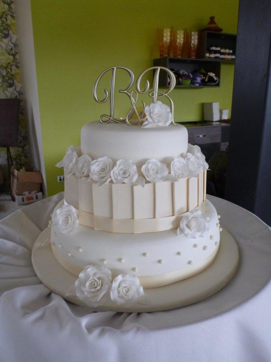Wedding Cakes Three Tiers  My First Wedding Cake White & Ivory 3 Tier Wedding Cake