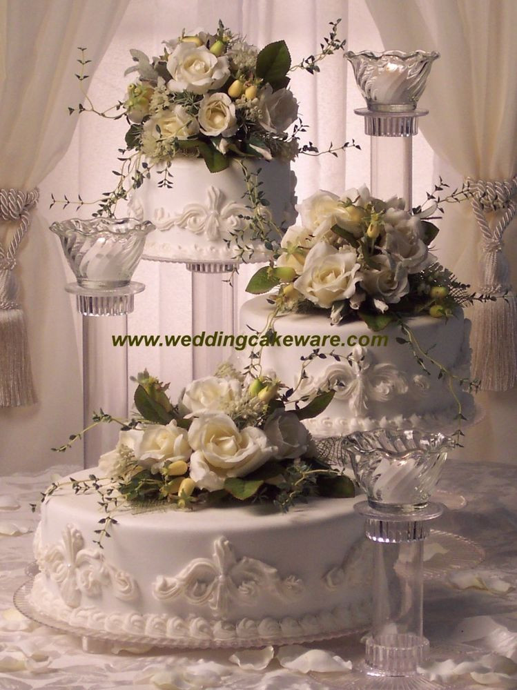 Wedding Cakes Three Tiers  3 TIER CASCADING WEDDING CAKE STAND STANDS 3 TIER CANDLE