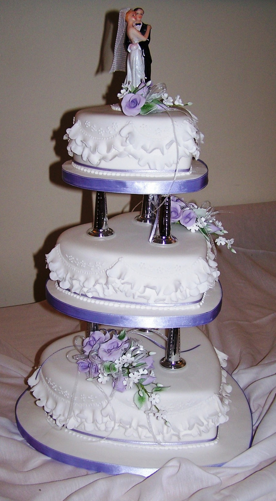 Wedding Cakes Tiered  3 Tier Heart Shaped Cake Pillars With Gumpaste Flowers