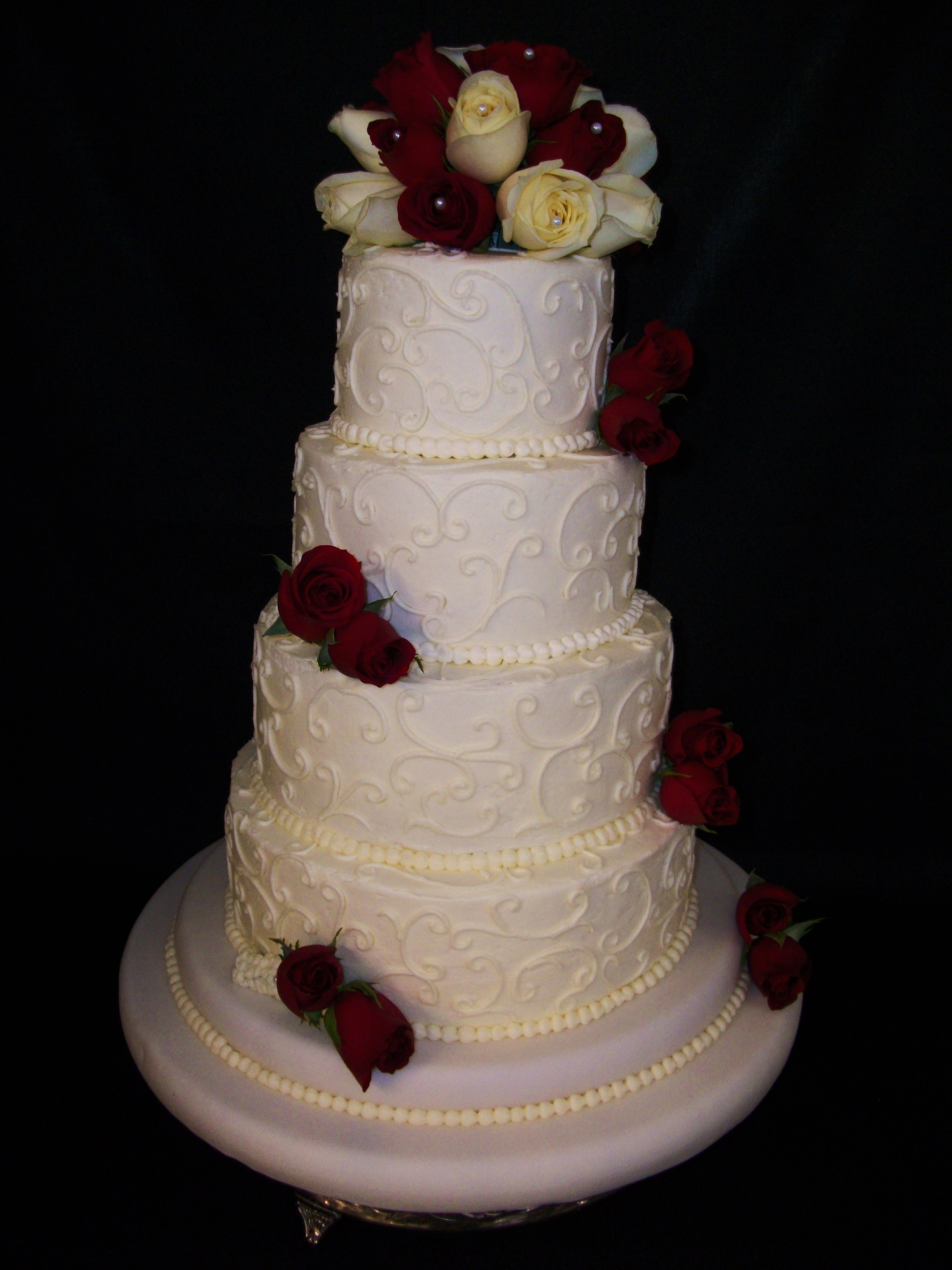 Wedding Cakes Tiered  Wedding Cake 4 Tier Buttercream Fresh Red and White Roses