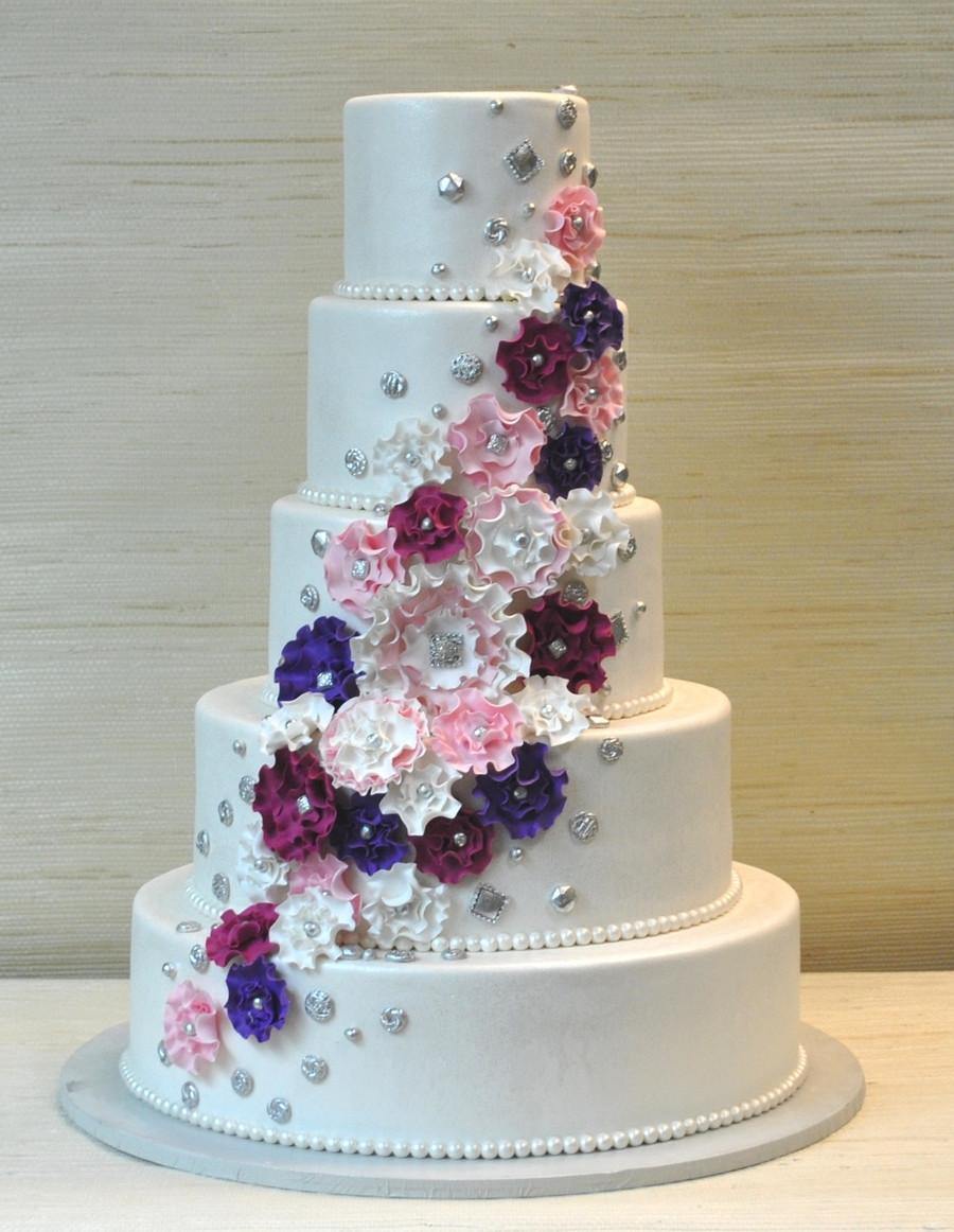 Wedding Cakes Tiered  Extraordinary 5 Tier Wedding Cake With Fantasy Ruffled Gum