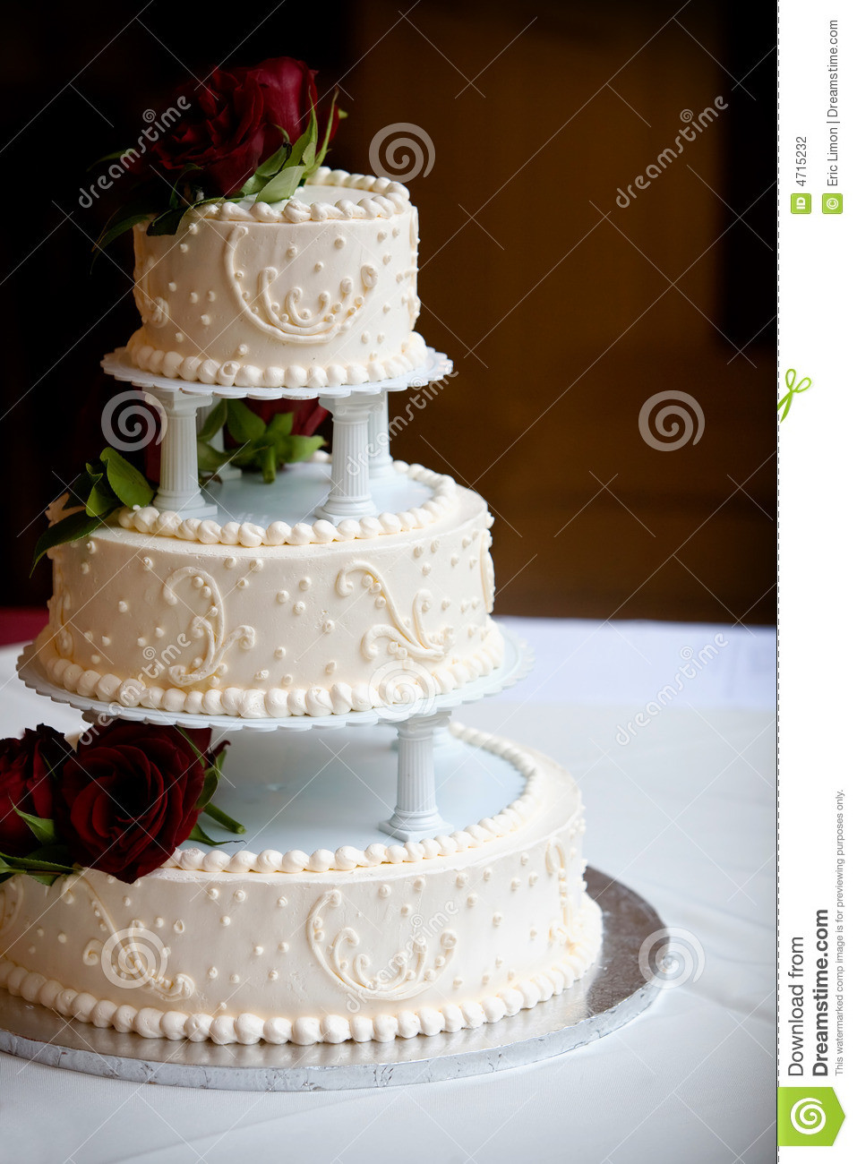 Wedding Cakes Tiers  Wedding Cake With Three Tiers Stock Image of