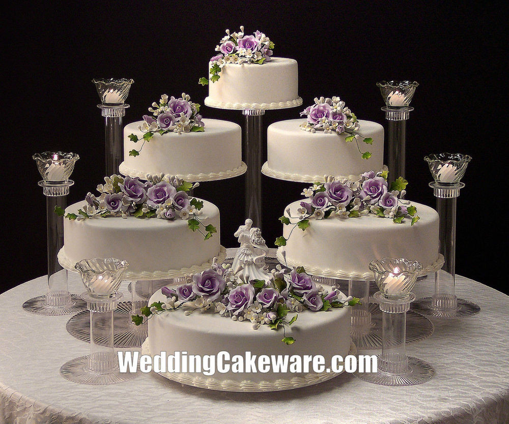 Wedding Cakes Tiers  6 TIER CASCADING WEDDING CAKE STAND STANDS 6 TIER CANDLE