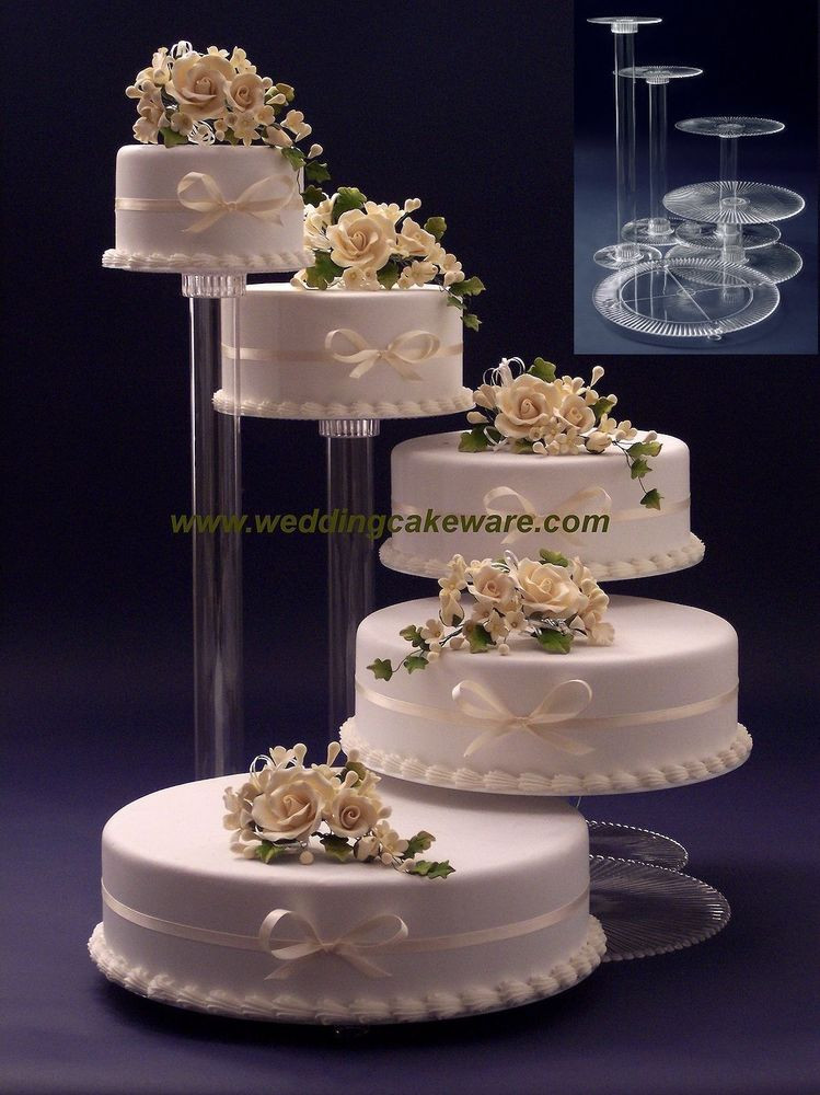 Wedding Cakes Tiers  5 TIER CASCADING WEDDING CAKE STAND STANDS SET