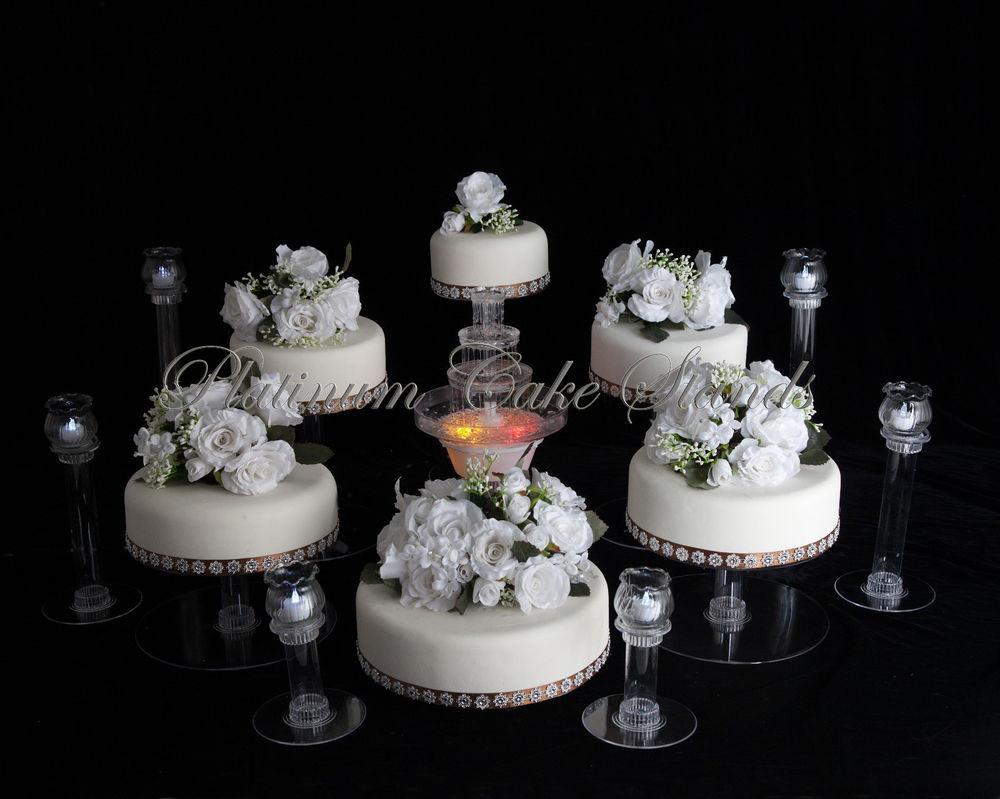 Wedding Cakes Tiers  6 TIER CASCADE WEDDING CAKE STAND W FOUNTAIN & 6 VOTIVE