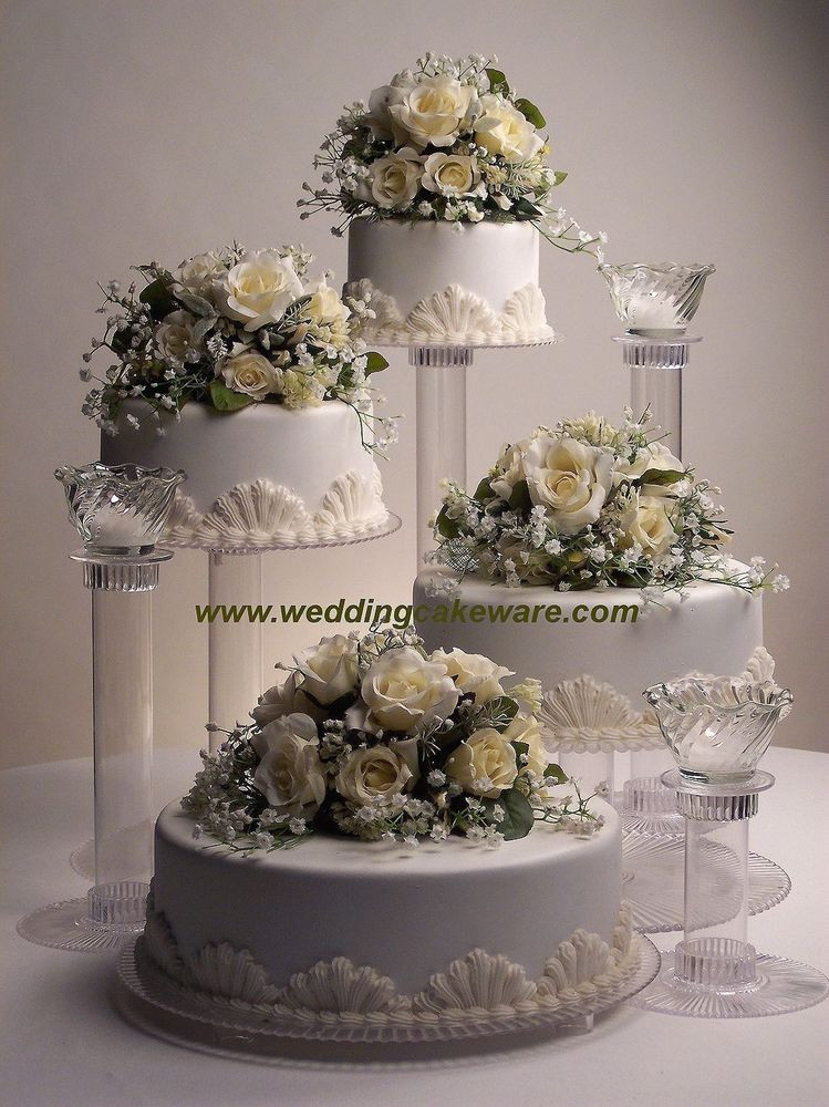 Wedding Cakes Tiers  4 TIER CASCADING WEDDING CAKE STAND STANDS 3 TIER CANDLE