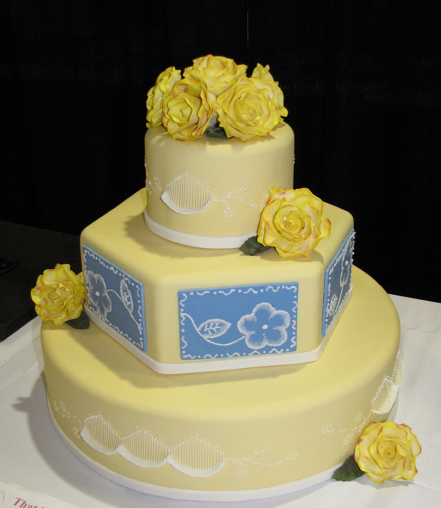 Wedding Cakes Tyler Tx  Classic Yellow and Blue Wedding Cake by Tyler Gary