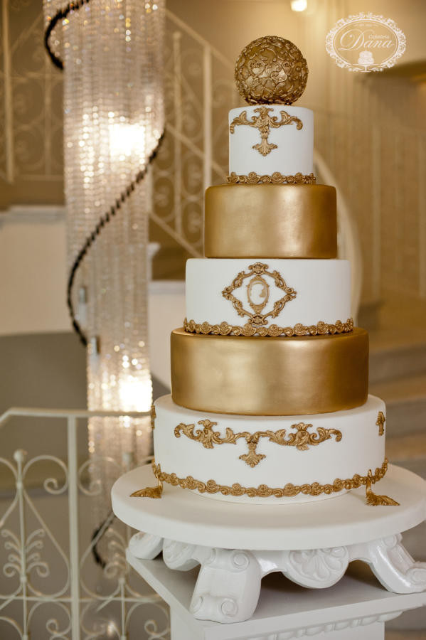 Wedding Cakes White And Gold  Gold and white wedding cake cake by Cofetaria Dana