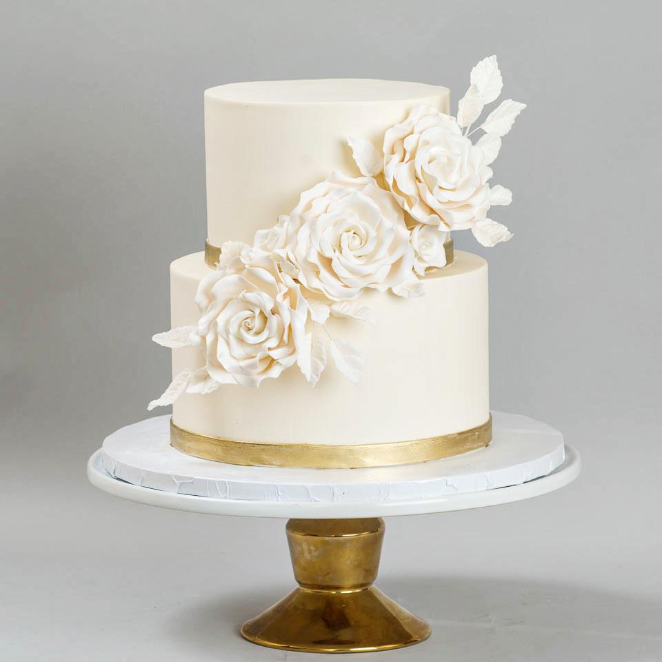 Wedding Cakes White And Gold  Wedding Cakes — Blue Lace Cakes