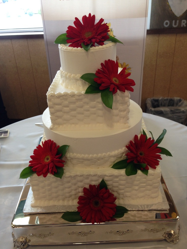 Wedding Cakes Whole Foods  Whole Foods Market wedding cake red daisies