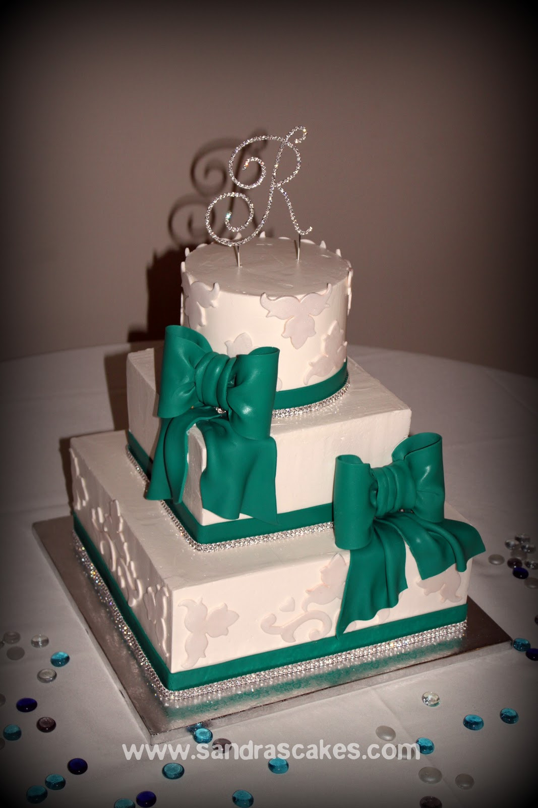 Wedding Cakes With Bling  Buttercream Wedding Cake with Bling