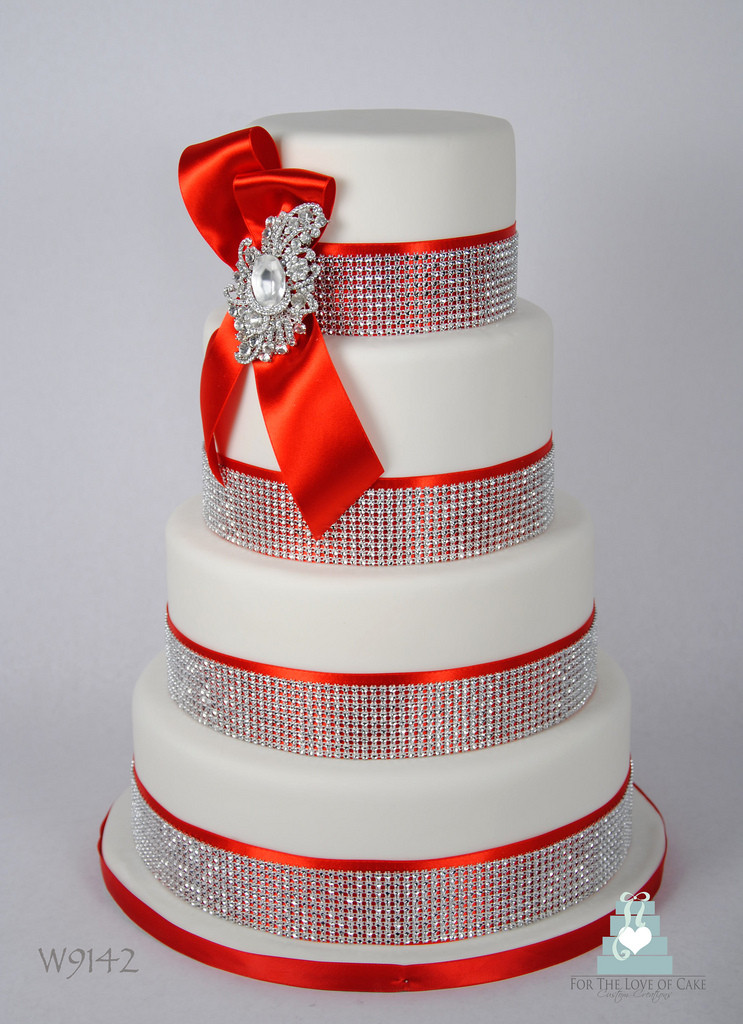 Wedding Cakes With Bling  W9142 red white crystal bling wedding cake a