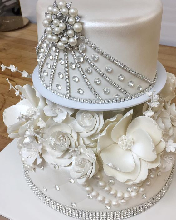 Wedding Cakes With Bling  Bling and flowers never go out of style