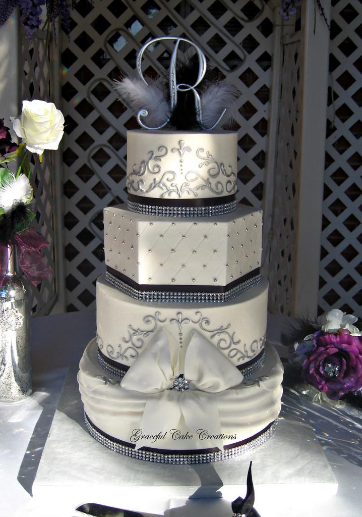 Wedding Cakes With Bling  Elegant Black White and Silver Buttercream Wedding Cake
