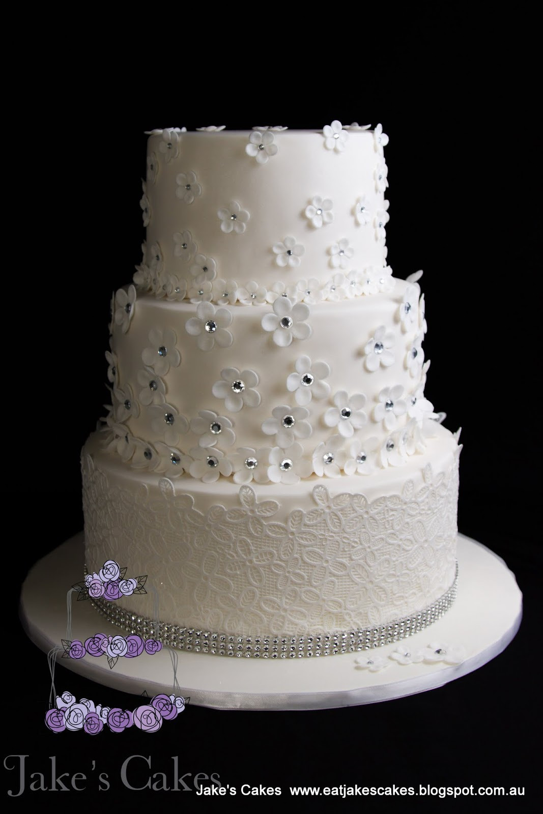Wedding Cakes With Bling  Jake s Cakes Flower Bling wedding cake