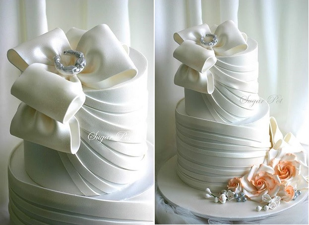 Wedding Cakes With Bows  Wedding Cakes with Couture Bows – Cake Geek Magazine