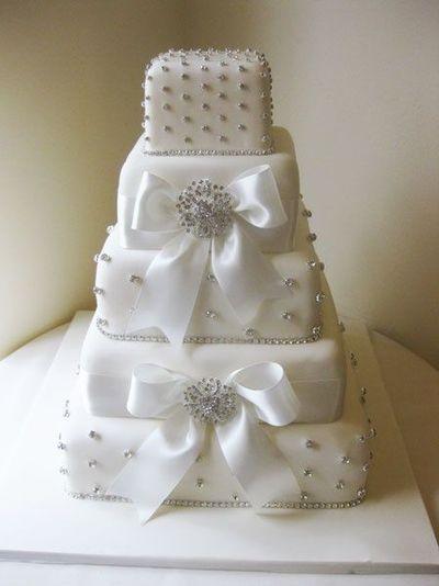 Wedding Cakes With Bows  Square Bling & Bows wedding cake wedding cakes Juxtapost