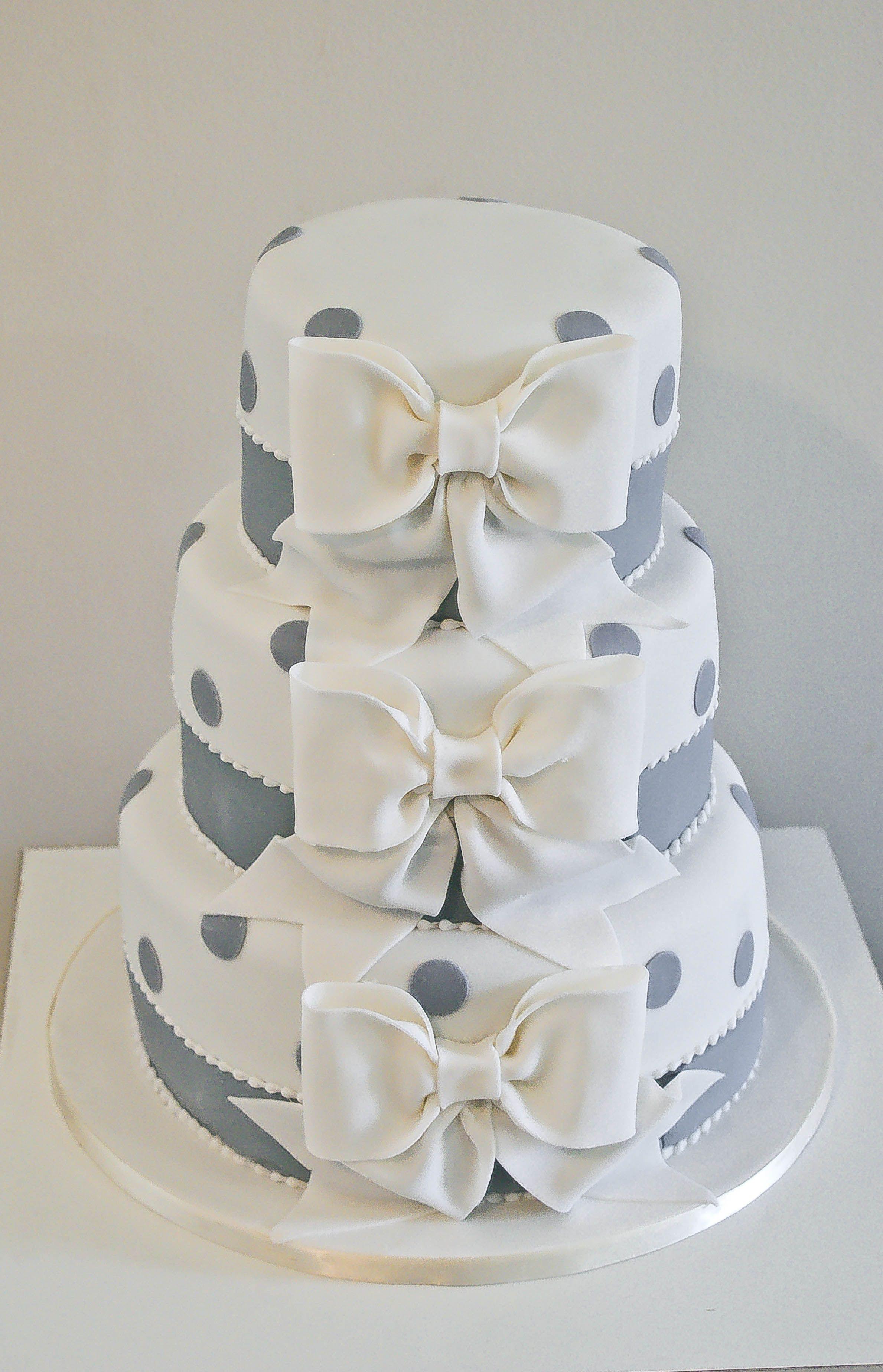 Wedding Cakes With Bows  Bow polka dot wedding cake My Work Pinterest