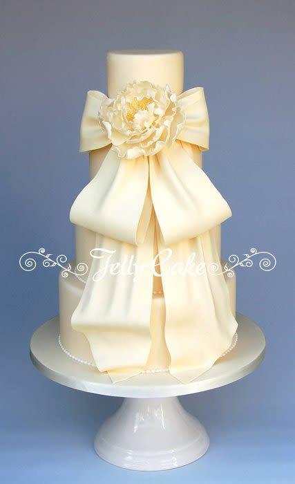 Wedding Cakes With Bows  Peony and Bow Wedding Cake Cake by JellyCake Trudy