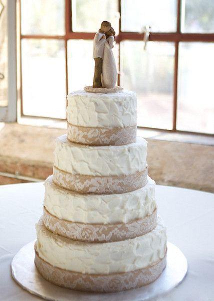 Wedding Cakes With Burlap Ribbon  Autumn Georgia Mill Wedding Wedding Cakes