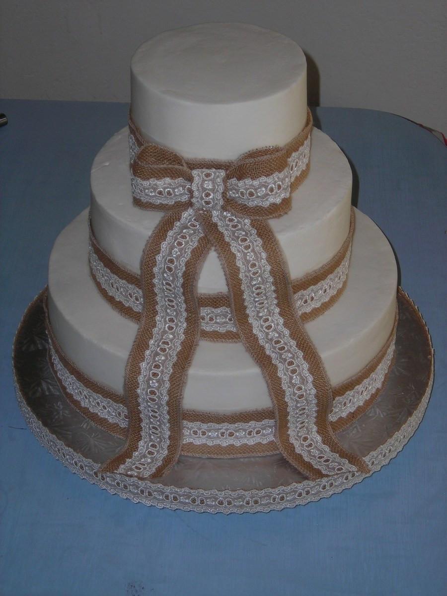 Wedding Cakes With Burlap Ribbon  Burlap & Lace Wedding Cake CakeCentral