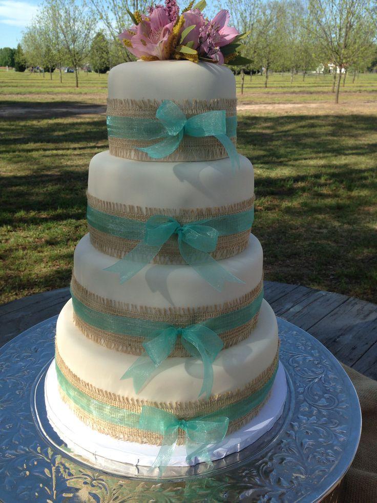 Wedding Cakes With Burlap Ribbon  Burlap and ribbon wedding cake Kuirky Cakes